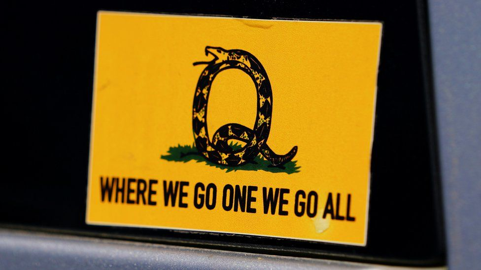 A sticker that references the QAnon slogan is seen on a truck that participated in a caravan convoy in Adairsville, Georgia, U.S. September 5, 2020