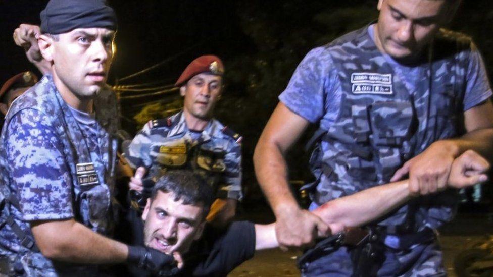 Police in Yerevan dragging protester