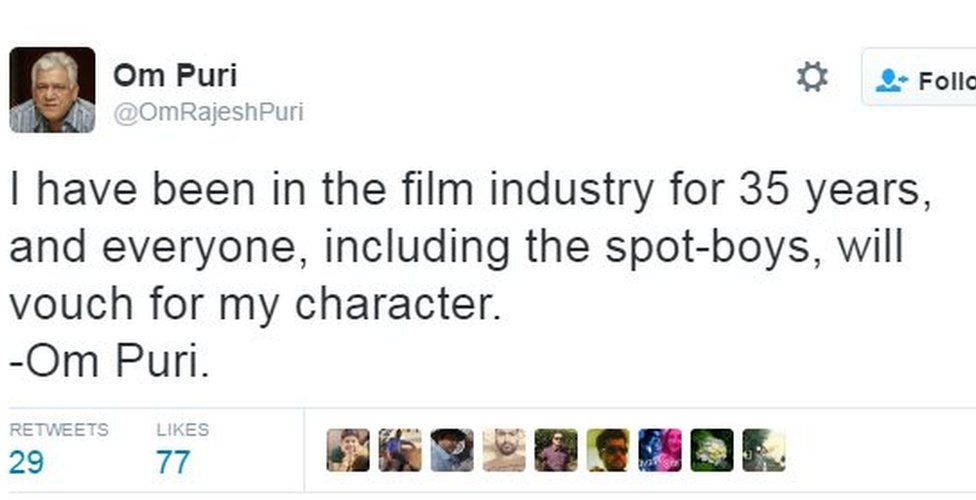 I have been in the film industry for 35 years, and everyone, including the spot-boys, will vouch for my character. - Om Puri