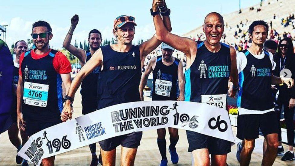 Nick Butter completing Athens marathon