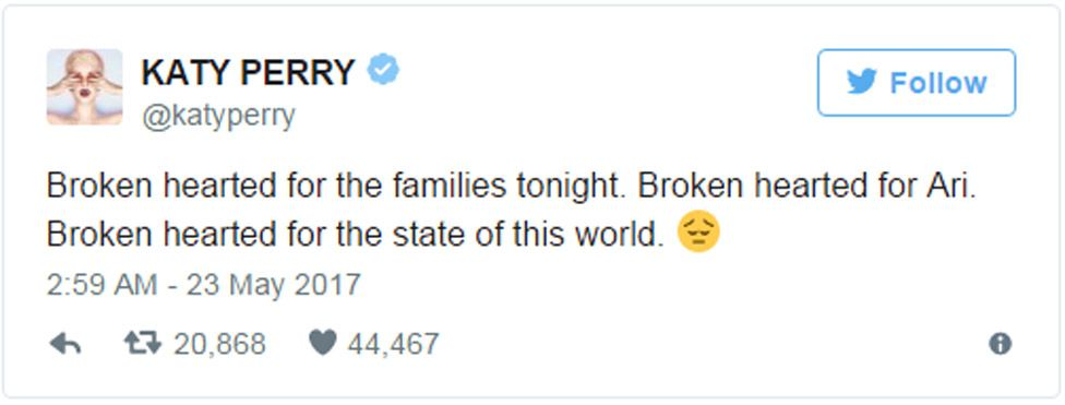"""Katy Perry tweet: """"Broken hearted for the families tonight. Broken hearted for Ari. Broken hearted for the state of this world."""""""
