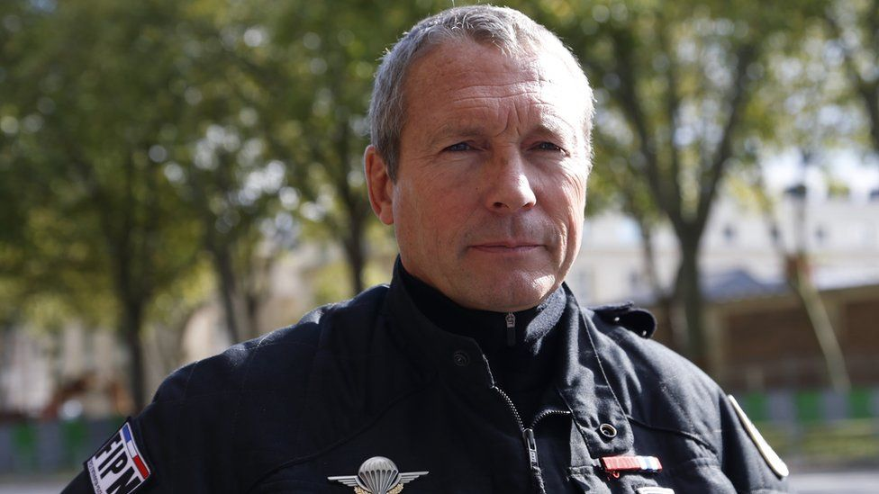 Jean-Michel Fauvergue, head of the RAID, the French national police intervention group, poses during a public exercise in front of the Chateau de Versailles, outside Paris, on October 11, 2014