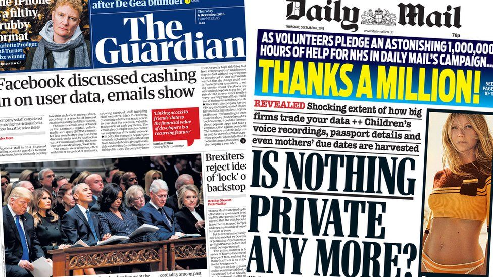 Composite image showing Guardian and Mail front pages