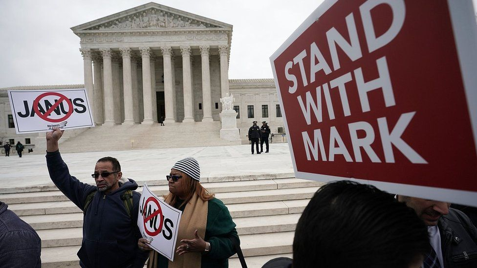 Activists rally in front of the U.S. Supreme Court on February 26, 2018 in Washington, DC.