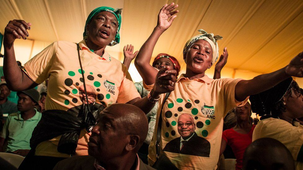 """Supporters of the African National Congress (ANC) attend celebrations for South Africa""""s president 75th birthday on April 12, 2017 in Kliptown, Soweto"""