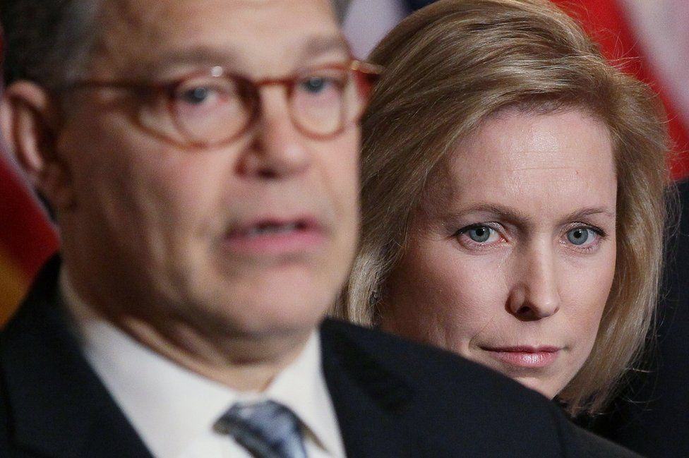 Hours after Franken (left) was accused, Senator Gillibrand said Bill Clinton should have resigned over his affair