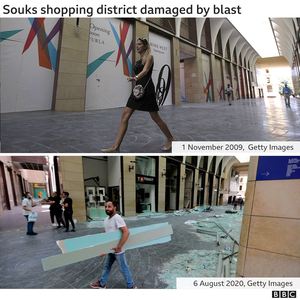 Souk shopping district, before and after blast damage