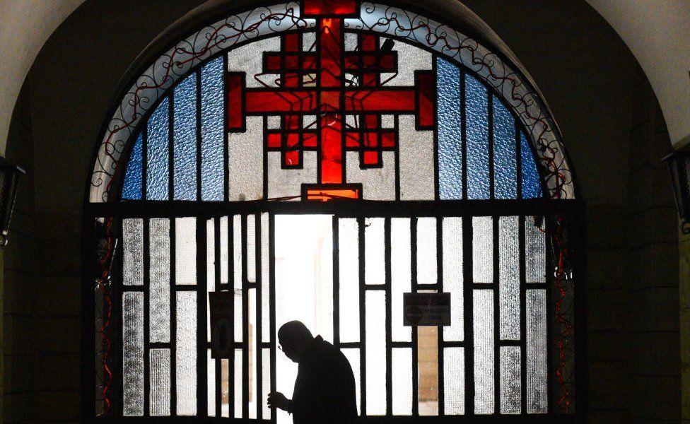 Jerusalem Cross on entrance to Franciscan Convent in Jerusalem, 14 March 2018