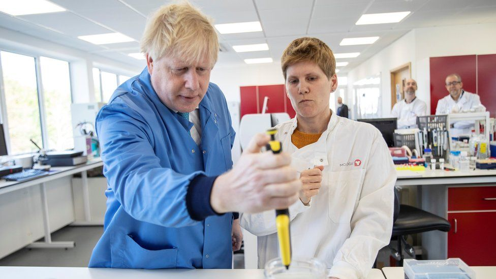 Boris Johnson at the Mologic lab in Bedfordshire