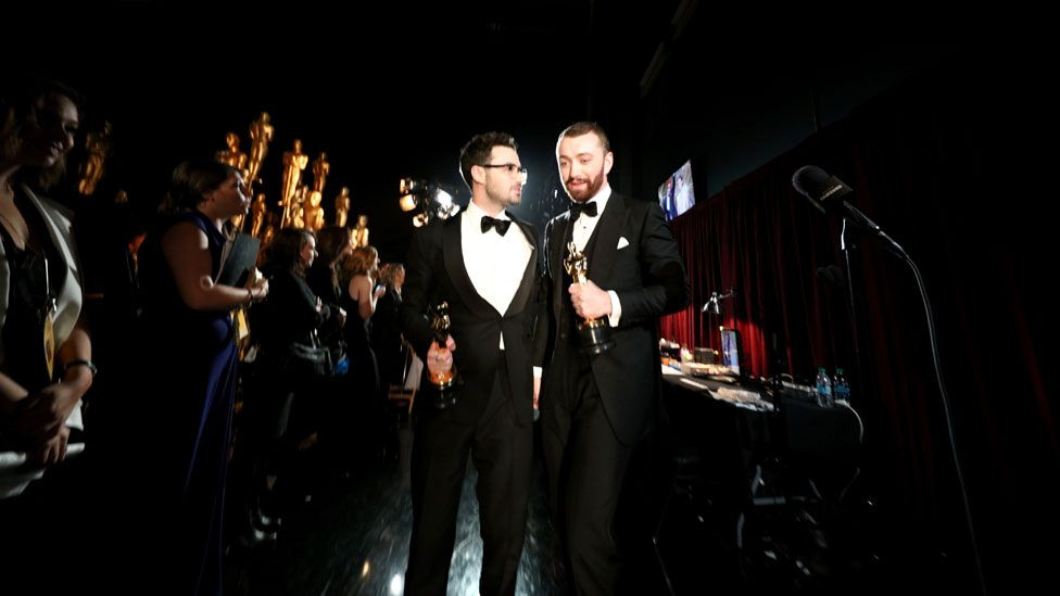 Sam Smith and Jimmy Napes backstage