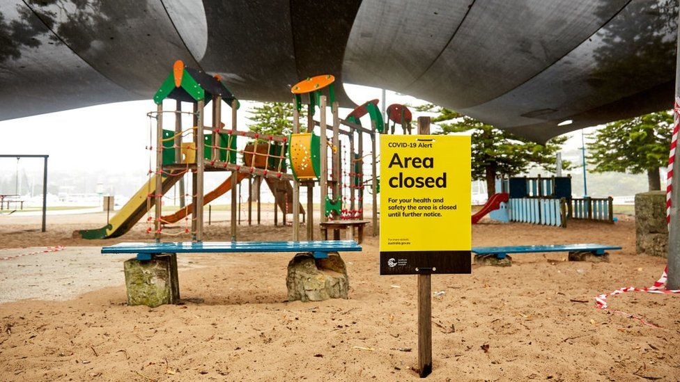 A closed children's playground is deserted at Clontarf