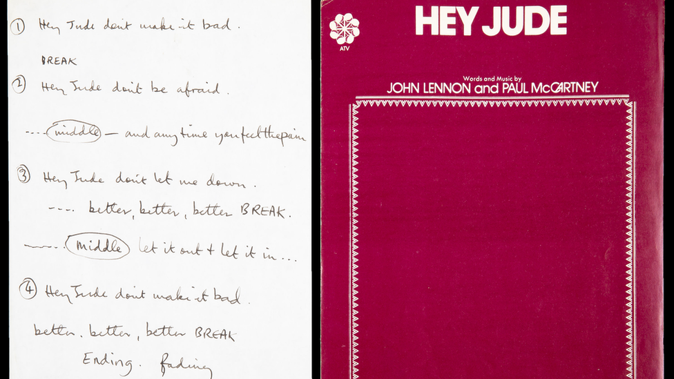 Sir Paul McCartney's handwritten lyrics for The Beatles' 1968 hit Hey Jude
