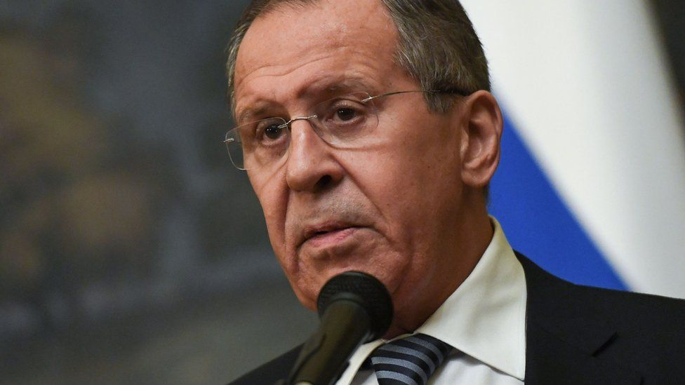 Russian Foreign Minister Sergei Lavrov makes a statement on the decision to expel 60 US diplomats in Moscow on March 29, 2018
