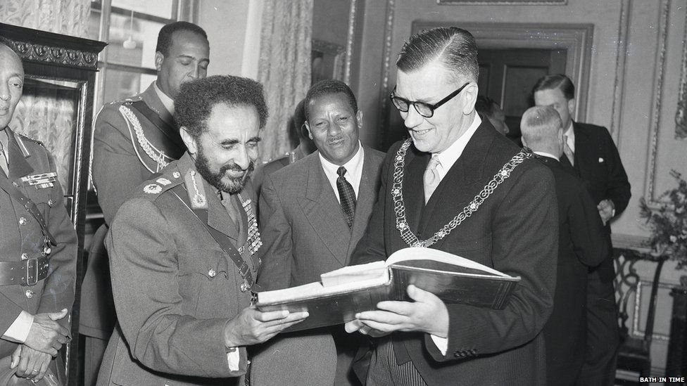 Haile Selassie with the mayor of Bath Cllr Gallup, Guildhall, October 1954