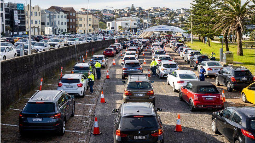 Cars queue up at testing sites in Bondi, Australia