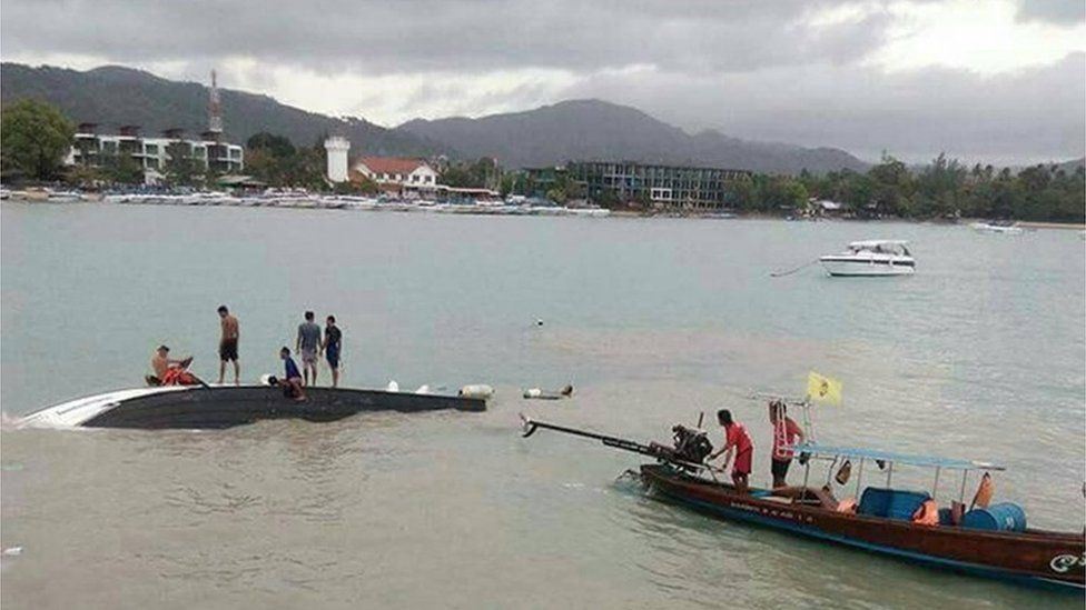 Photo taken with permission from the twitter feed of Nalinee Siriked of the scene near Koh Samui in Thailand