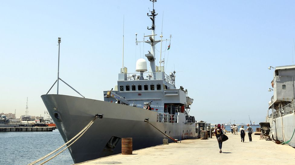 Italian warship Tremiti in Tripoli naval base, 10 Aug 17