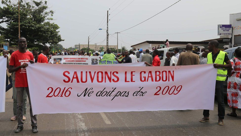 Members of the Gabonese opposition demonstrate in Libreville on 23 July 2016