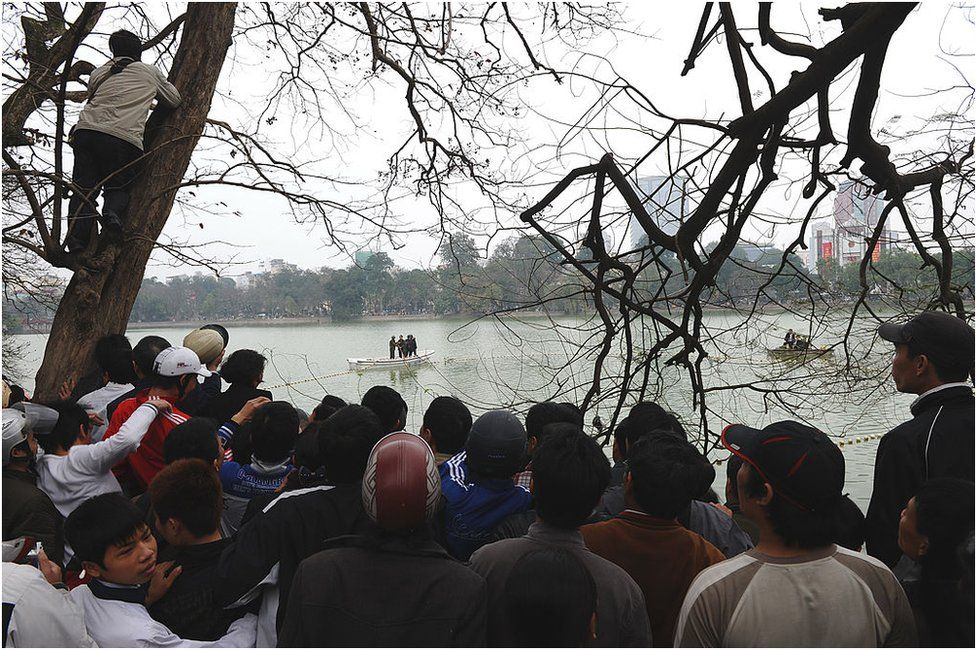 Hundreds of residents and tourists watch rescuers using boats and nets as they begin efforts to capture and treat a legendary but ailing giant turtle described as the 'spirit of the nation' at Hoan Kiem lake in the very heart of Hanoi on 8 March 2011.