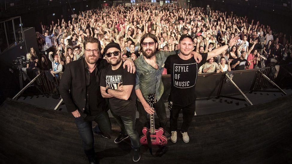Zach LeBeau, DJ Gramatik, Adam Stehr and Jay Rogovin before fans in Zurich, Switzerland