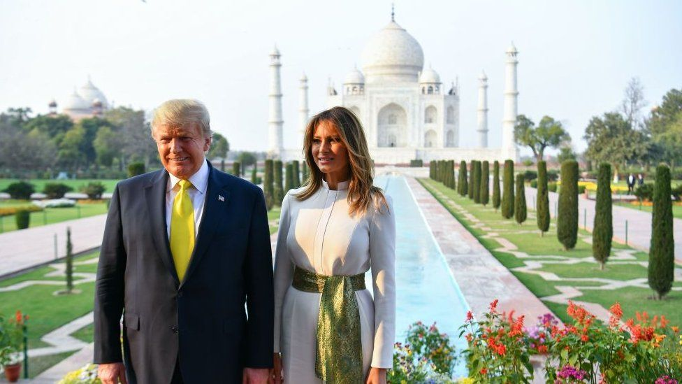 US President Donald Trump and First Lady Melania Trump pose as they visit the Taj Mahal in Agra on February 24, 2020