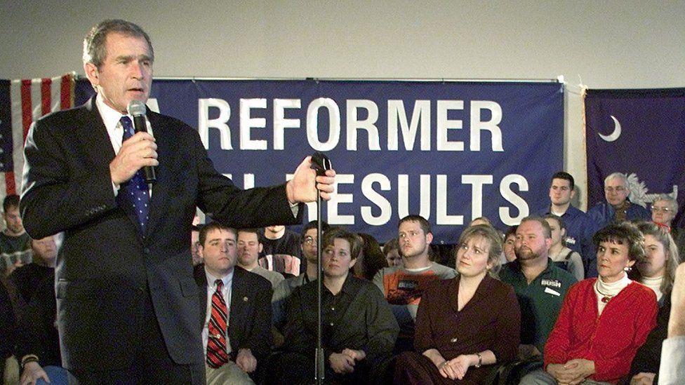 George W Bush in February 2000