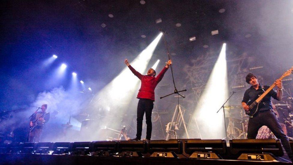 Picture shows Enter Shikari performing on the John Peel Stage at Glastonbury Festival, 2015
