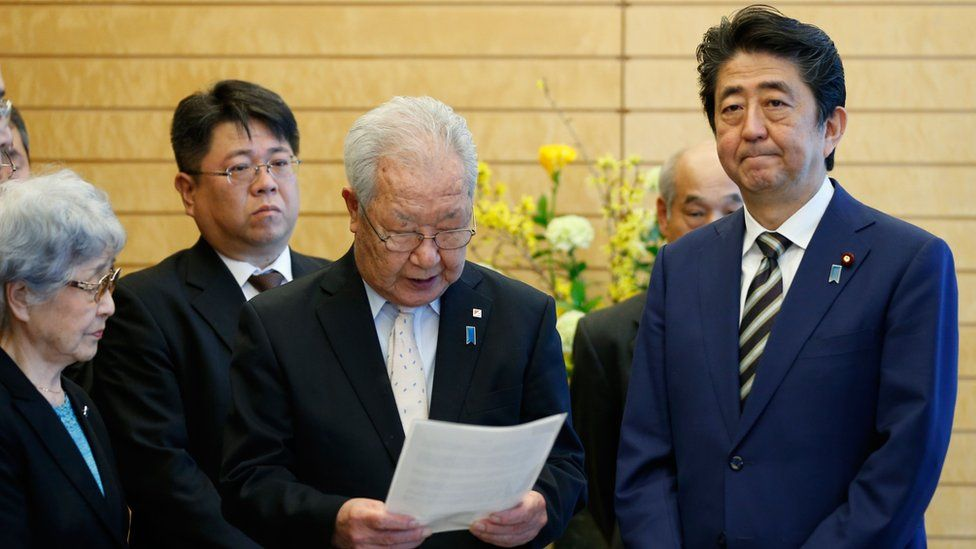 Japan's Prime Minister Shinzo Abe, meets the relatives of Japanese people abducted by North Korea.