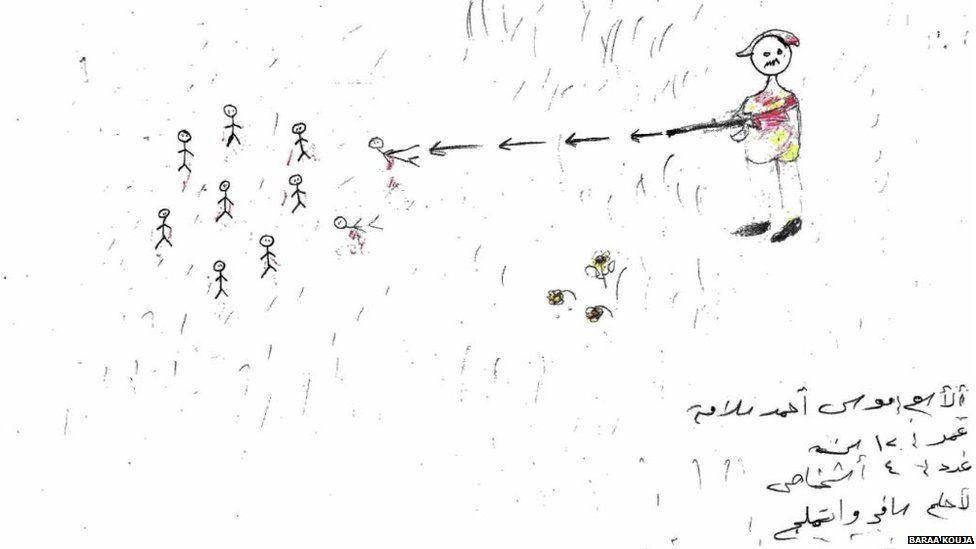 An image showing children, drawn as stickmen, being shot