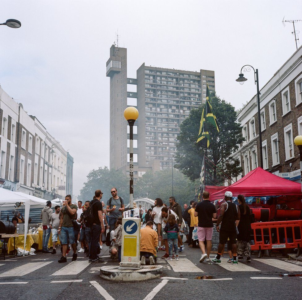 Trellick Tower from behind Notting Hill stalls