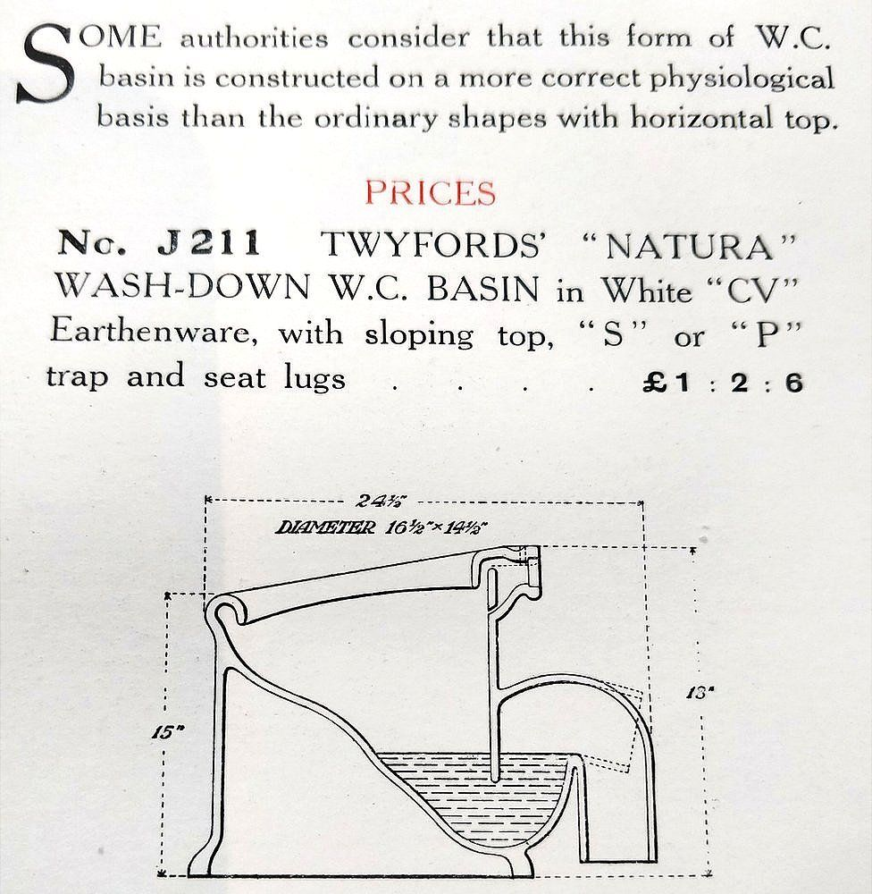 Twyfords' 1911 sloping toilet design