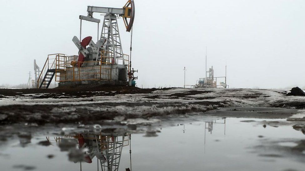 A pumpjack in operation at an oil field in Russia.