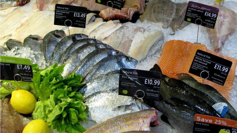 Fresh fish counter at Sainsbury's