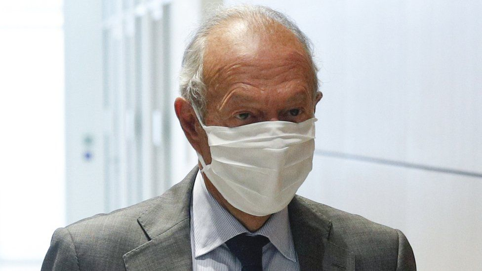"""Former presidential advisor Thierry Gaubert leaves the courthouse after attending the verdict of the """"Karachi"""" trial in Paris, France, 15 June 2020"""