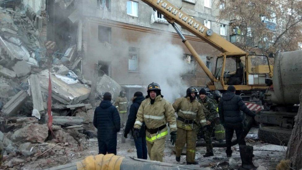 Devastated block of flats in Magnitogorsk, 31 Dec 18