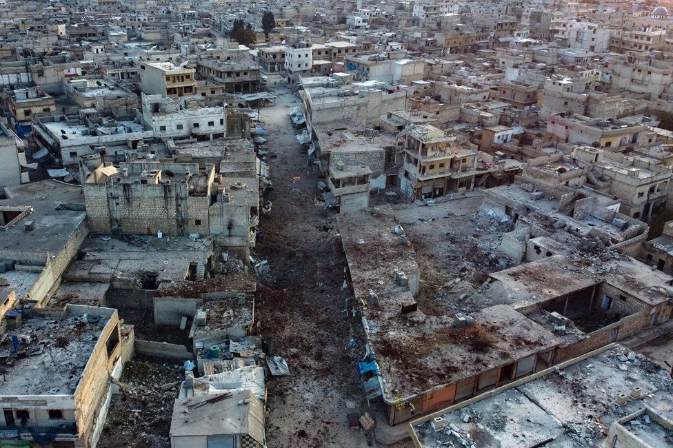 Aerial view of the town of Atareb in the Syrian province of Aleppo (18 February 2020)