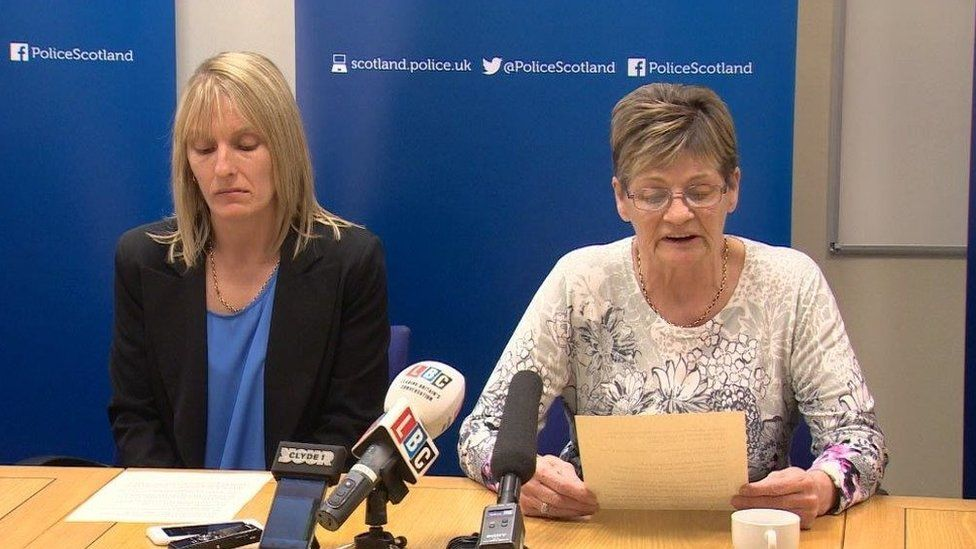 Julie Reilly's sister Lynne Bryce and mother Margaret Hanlon at police press conference