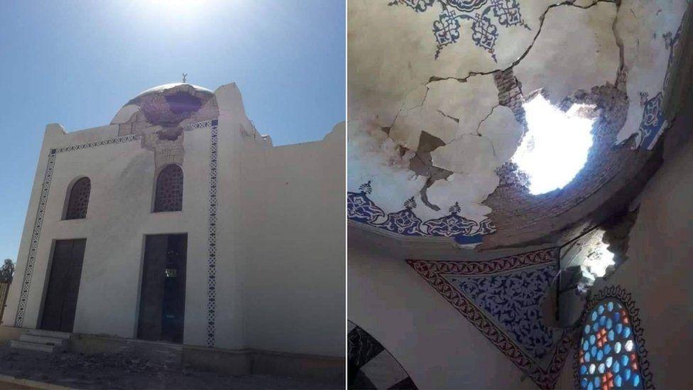 Damaged mosque