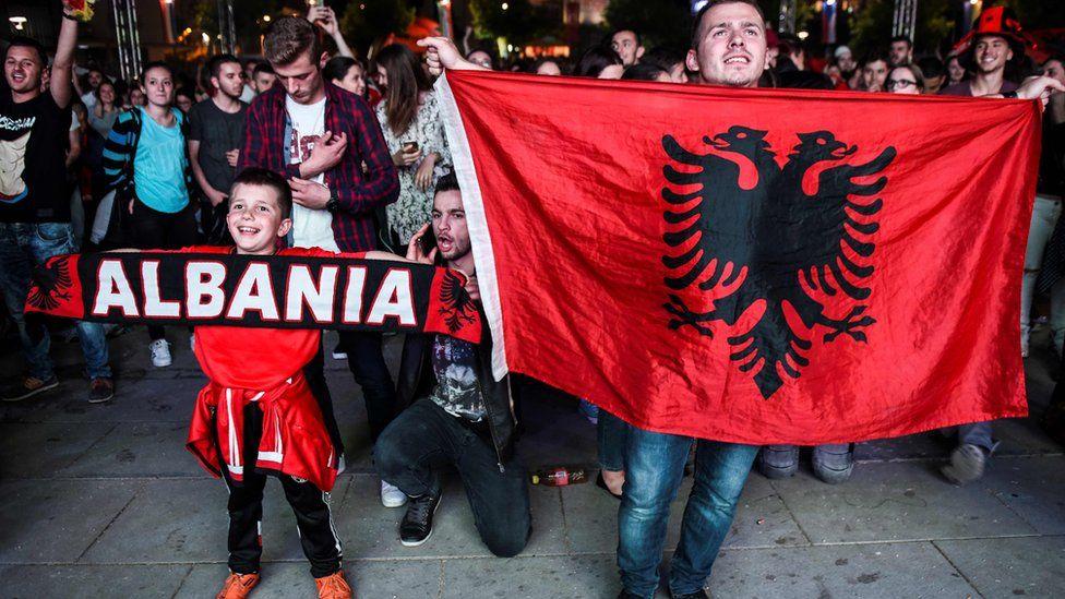 Albania fans celebrating in Kosovo, 19 Jun 16