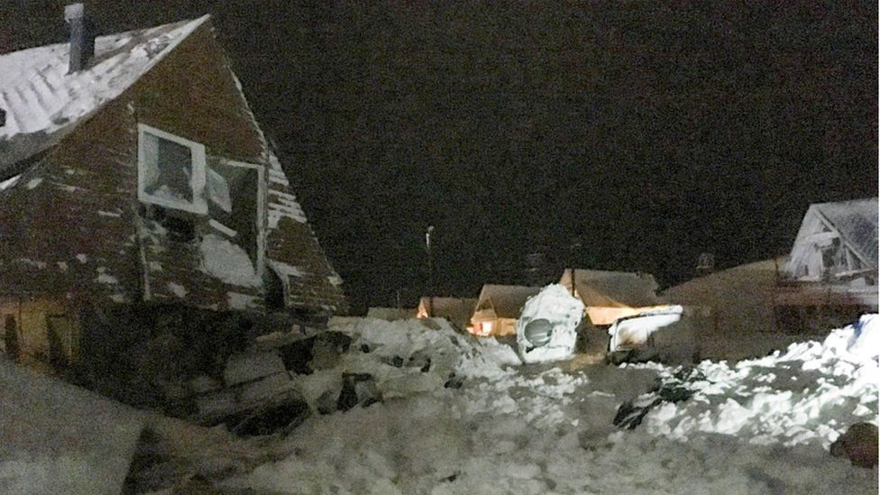 Damaged houses in Longyearbyen after avalanche, Svalbard, 19 December 2015