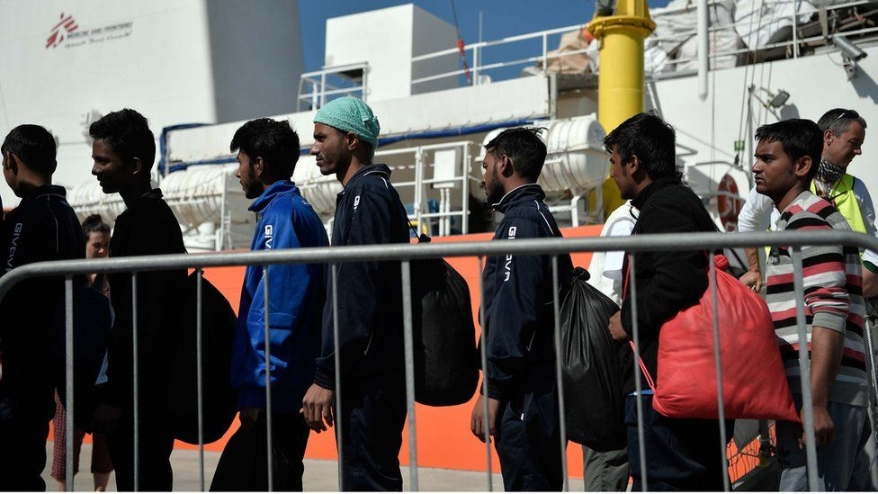 Migrants from the MV Aquarius at a port in Sicily on 10 May 2018