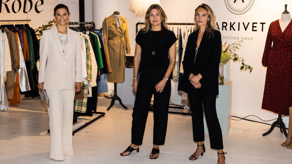 Crown Princess Victoria of Sweden visiting the Sustainable Fashion Hub during Stockholm Fashion Week