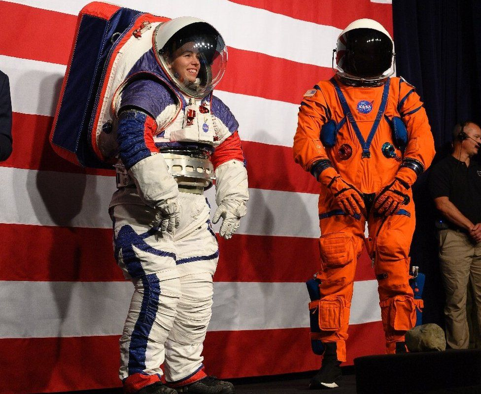 Exploration Extravehicular Mobility Unit (xEMU) on the left and the Orion Crew Survival Suit