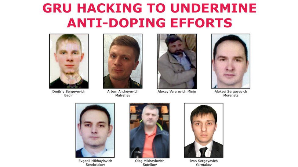 "The seven suspected agents of Russia's GRU on a ""Wanted"" poster after being indicted for hacking."