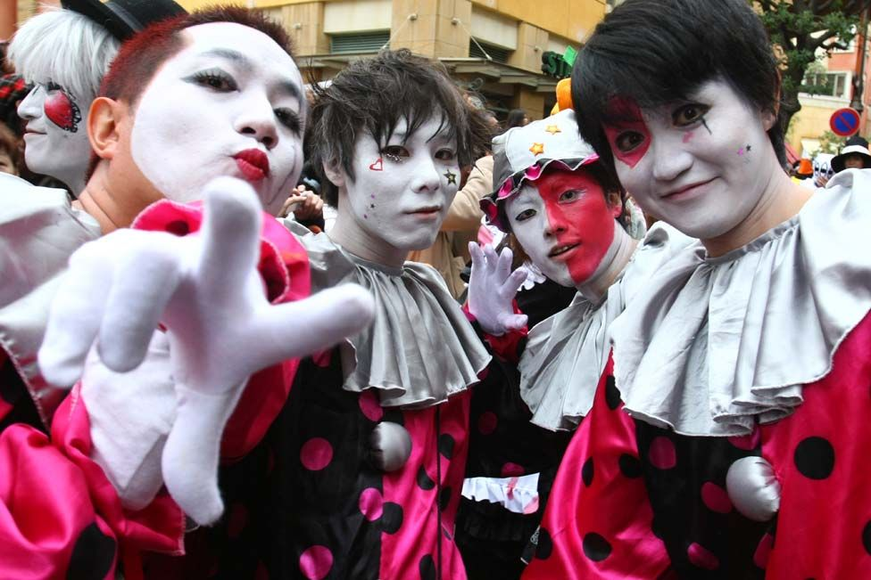 Participants in costumes wait for a Halloween parade in Kawasaki, Japan