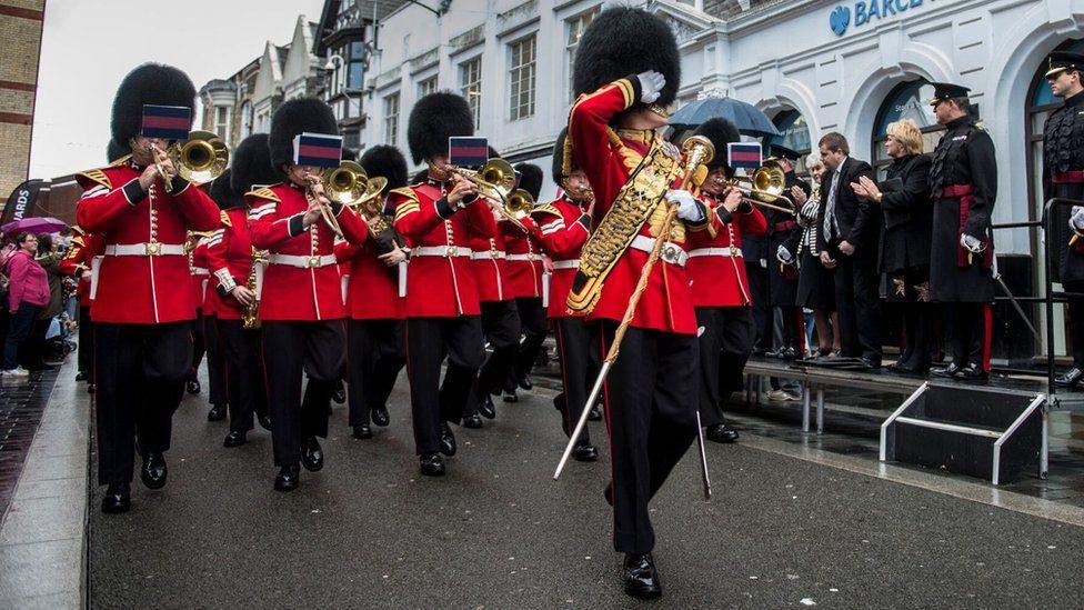 Welsh Guards parade through Pontypridd