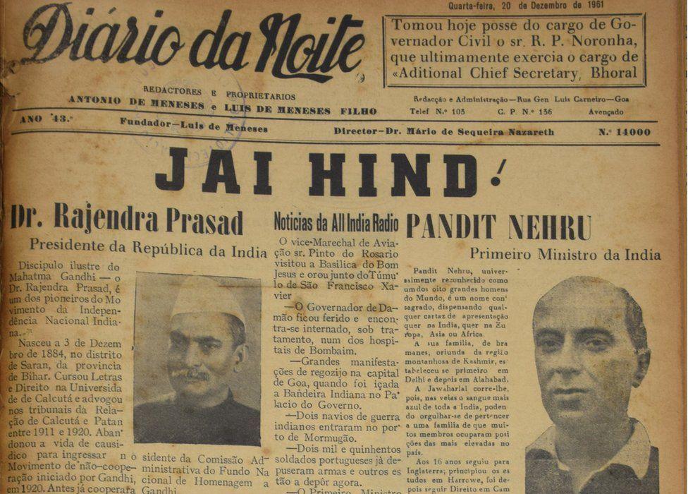 A Goan newspaper dated 20 December 1961