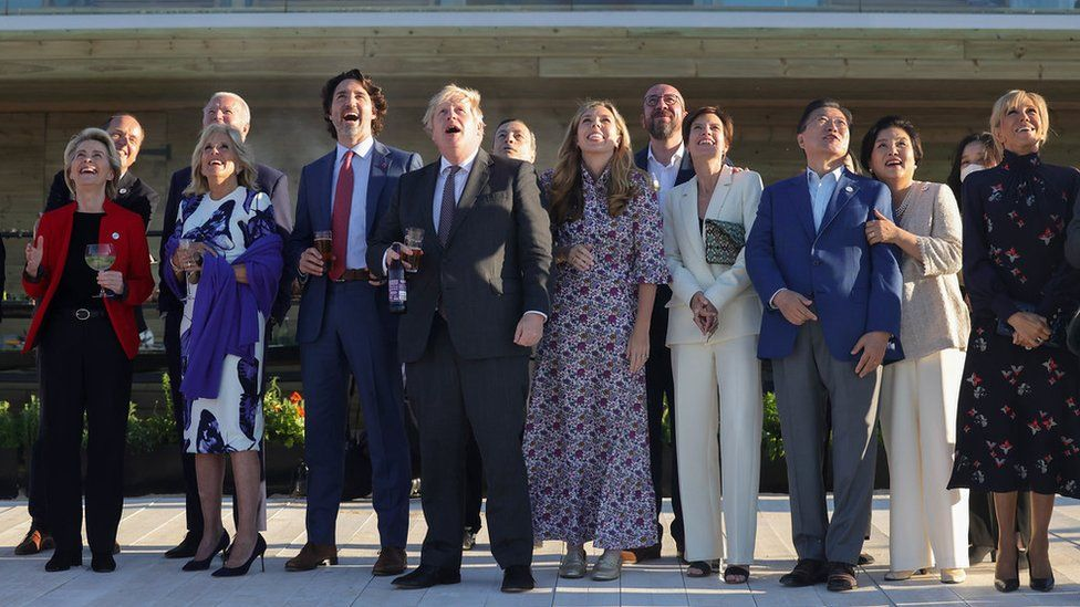 G7 leaders watch the Red Arrows display