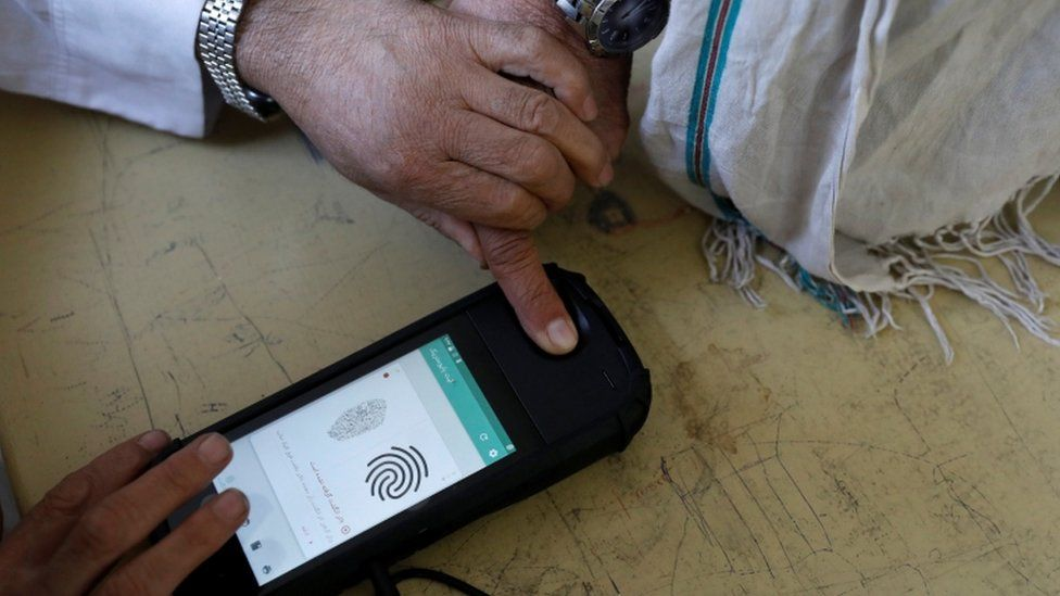 The biometric devices have not led to quick voting