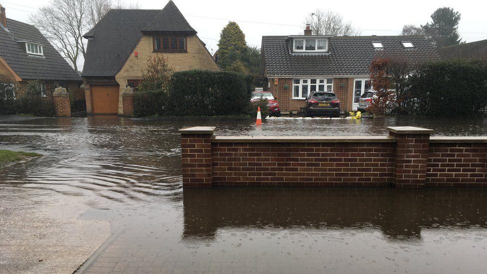Flooding in Station Road, West Hallam, Derbyshire